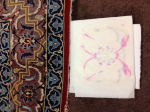 Persian Isfahan Rug Cleaning from Weybridge. Unstable Dyes Require Specialist Treatment.