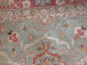 Specialist Cleaning - Red Wine Stain Removed from Persian Design Rug for Customer in Fleet -17 September 2015