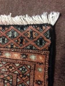 Oriental rug corner and fringe after repair