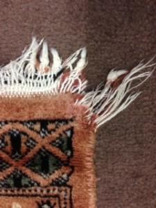 Oriental rug fringe and corner damage