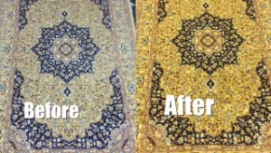 Persian Rug Before and After Washing - Rug Cleaning in Crondall, Farnham - 25 February 2016