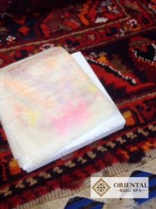 dye-stability-test-on-a-persian-carpet-wool-rug-cleaning-farnham-surrey