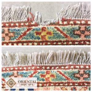 Fringe repair to an Afghan Kazak rug in Brookwood, Woking in August 2017