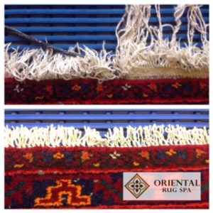 Fringe repair on Persian Hamadan rug