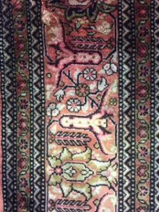A silk rug from Frimley Green, Camberley Surrey.  Cleaned September 2017