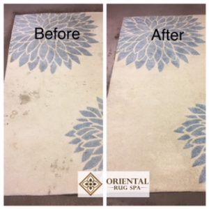 Before and After images of a contemporary wool and silk rug, washed December 2017