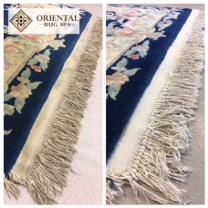 The Before and After images of the fringes on a Chinese Rug from Finchampstead, washed January 2018