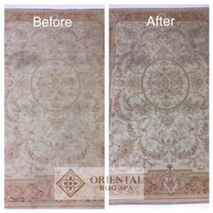 Before & After images of a Laura Ashley rug which has been cleaned by The Oriental Rug Spa