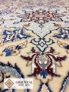 A photograph of a  Persian Wool & Silk Nain rug from Pirbright, washed December 2017